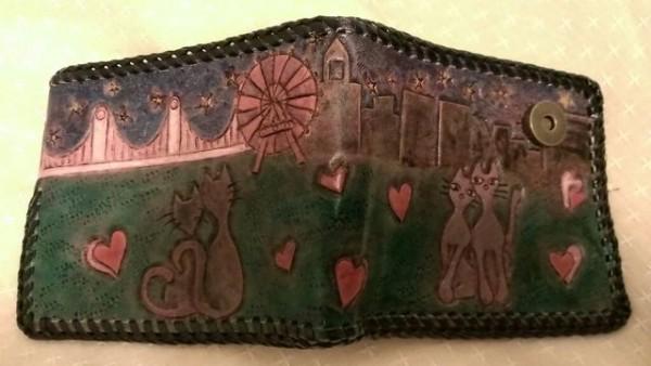 本牛革二つ折り猫財布